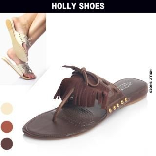 Buy Holly Shoes Fringed Detail Flip Flops 1022888068