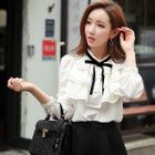 Bow-Accent Ruffled Blouse 1596