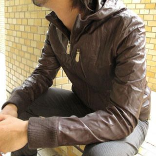 Buy Lens Concave Genuine Leather Hooded Bomber Jacket 1021222382