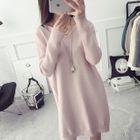 V-Neck Mini Sweater Dress 1596