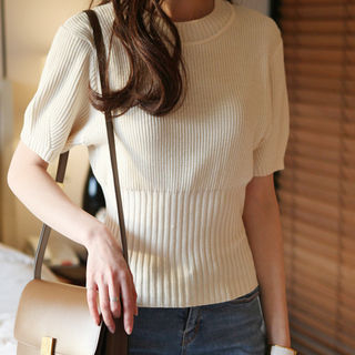 Round-Neck Ribbed Knit Top 1059652589