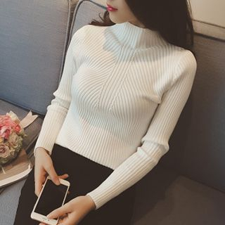 Ribbed Mock-neck Knit Top 1048328420
