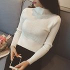 Ribbed Mock-neck Knit Top 1596