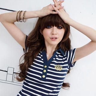 Picture of D.P-Shop Stripe Polo Shirt 1022998469 (D.P-Shop Tees, Womens Tees, Taiwan Tees, Causal Tops, Polo Shirts)