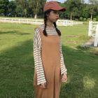 Striped Long-Sleeve T-Shirt / Knit Pinafore Dress 1596
