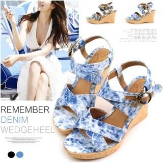 Picture of Miz shoes Washed Denim Wedge Sandals (2 Designs) 1022754049 (Sandals, Miz shoes Shoes, Korea Shoes, Womens Shoes, Womens Sandals)