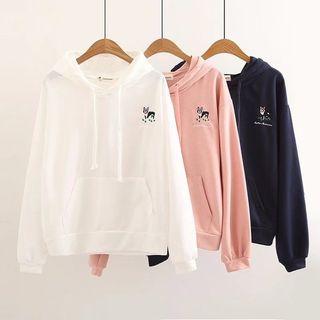 Dog Embroidered Hooded Sweatshirt 1065283280