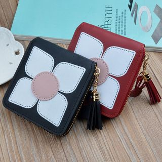 Image of Faux Leather Flower Zip Wallet