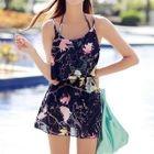 Set: Printed Bikini + Top + Skirt 1596