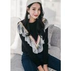 Ruffled Lace-Trim Knit Top 1596