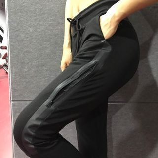 Drawstring Paneled Sports Pants 1063431968