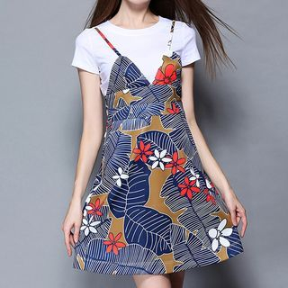 Set: Short-Sleeve T-Shirt + Strappy Patterned Dress 1051504245
