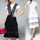 Set: Short-Sleeve T-Shirt + Lace Pinafore Dress 1596