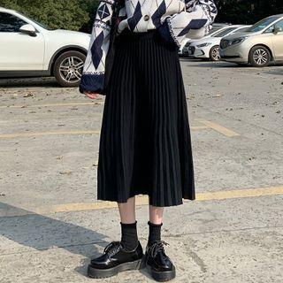 Pleated Midi Knit Skirt