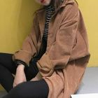 Image of Corduroy Buttoned Long Jacket