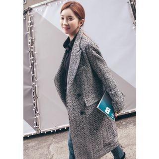 Peaked-Lapel Wool Blend Herringbone Long Coat 1056786288