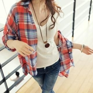 Buy pinkdiamond Tab-Sleeve Plaid Shirt 1022789089