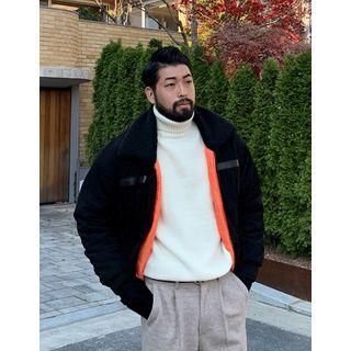 Fleece-collar Oversized Flight Jacket
