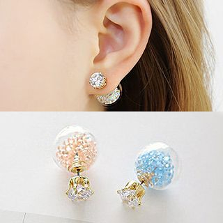 Rhinestone and Bead Double-Stud Earrings 1045693905