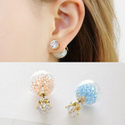 Rhinestone and Bead Double-Stud Earrings 1596
