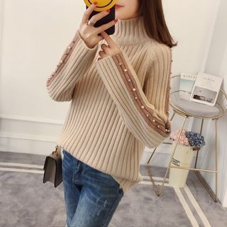 Contrast Trim Ribbed Sweater 1064035061