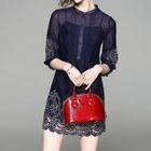 Elbow-Sleeve Embroidered Dress 1596