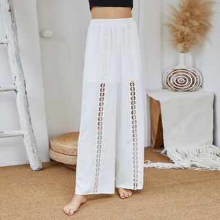 Image of Cropped Floral Trim Wide-Leg Pants