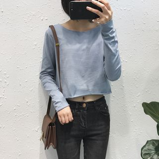 Image of Long-Sleeve Cropped T-Shirt