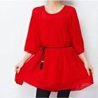 Elbow Sleeve Pleated Chiffon Dress 1596