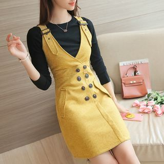 Set: Rib Knit Top + Double-Breasted Faux Suede Pinafore Dress 1055012491