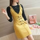 Set: Rib Knit Top + Double-Breasted Faux Suede Pinafore Dress 1596