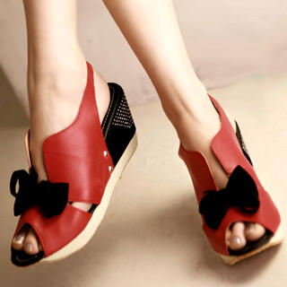 "Buy Kvoll Color-Block ""Bow"" Wedges 1022653719"