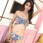 Set: Patterned Bikini + Top + Shorts 1596