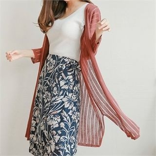 Open-Front Ribbed Long Cardigan 1060590602