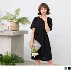 Short Sleeve Bow Accent Shift Dress 1596