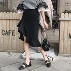Ruffle Hem Asymmetrical Pencil Skirt 1596