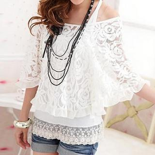 Set: Elbow-Sleeve Lace Top + Tank Top 1044389438
