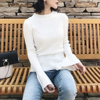 Bell Sleeve Crew Neck Rib Knit Top 1061928903