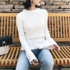 Bell Sleeve Crew Neck Rib Knit Top 1596