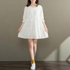 Dotted Elbow-Sleeve Dress 1596