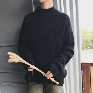 Image of Mock-Neck Long-Sleeve Knit Sweater