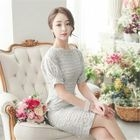 Puff-Sleeve Laced Sheath Dress 1596