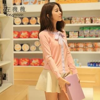 Bow Detail Cardigan Nude Pink - L 1036765052