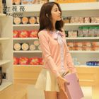 Bow Detail Cardigan Nude Pink - L 1596