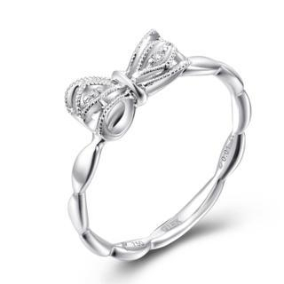 18K White Gold Sweet Bow Knot Diamond Accent Milgrain Women Ring (0.01cttw) thumbnail