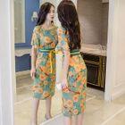 Set: Floral Print Short-Sleeve Midi Chiffon Dress + Strappy Dress 1596