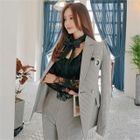 Peaked-Lapel Double-Breasted Houndstooth Blazer 1596
