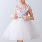 Kids Floral Embroidered Sleeveless Party Dress 1596