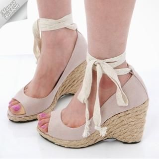 Picture of Mango Ribbon Tie-Ankle Open-Tone Sandals 1022969198 (Sandals, Mango Ribbon Shoes, Korea Shoes, Womens Shoes, Womens Sandals)