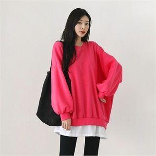 Layered-hem Fleece-lined Oversized Pullover